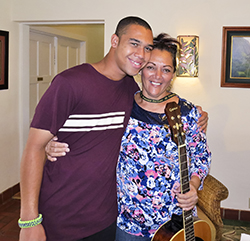 Lili'u got a hug from son Keali'i at the Ronald McDonald House after she per-formed a song that she and another mother (Babby Kanekoa) wrote about Babby's son Kahuena and the healing powers of the Manoa House